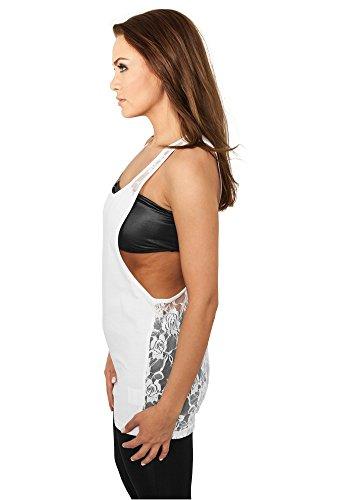 Urban Classics Damen Top Ladies Flower Laces Loose Tank White