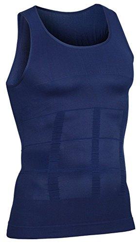Herren Ärmelloses Kompressions-shirt (i-select Shapewear Ärmelloses Kompressions-Shirt Taille Fettpolster Tank Top (EU L/Asia Etikett XL, Navy))