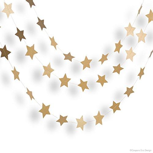 3 wunderbare Girlanden | 3 x 3m Sternengirlande oder Glitzergirlande | Weihnachtsdekoration | umweltfreundlich & schnell aufgebaut | (Sterne, Golden)