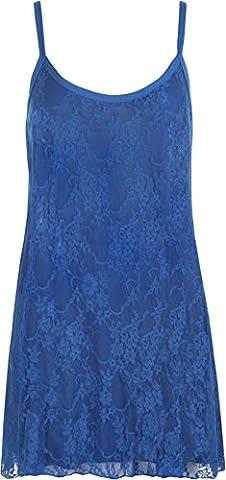 WearAll - Femmes Grand Taille Sheer mousseline dentelle doublé bretelles sans manches Balançoire Vest - Hauts - Bleu royal - 56-58