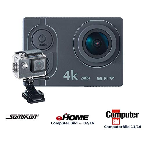 Somikon Action Kamera 4K: 4K-Action-Cam mit UHD-Video bei 24 fps, 16-MP-Marken-Sensor, IP68, WLAN (Fahrrad Kamera)