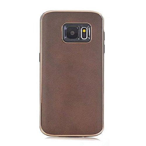 Ultra Thin und leichte Retro verrückte Pferd Leder Skin Dual Layer PC + TPU Hybrid Shell Cover Case [Shockproof] für Samsung Galaxy S7 ( Color : Yellow ) Brown