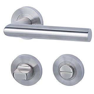 Alpertec 28024940 Edelstahl Doha-R für Badtüren WC Drückergarnitur Türdrücker Türbeschläge Neu, für Badezimmertüren