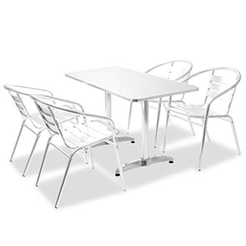 vidaXL Bistro Set 5-TLG. Aluminium Stapelbar Stuhl Balkonset mehrere Auswahl
