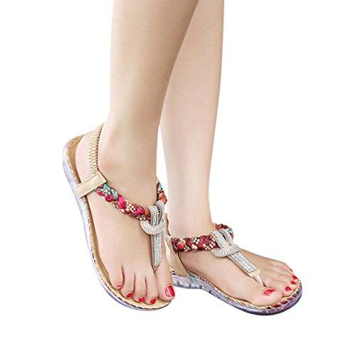 Transer® Damen Flach Sandalen Diamant T-Gurt Toepost Weben Elastischer Kunstleder+Gummi Schwarz Rot Sandalen (Bitte achten Sie auf die Größentabelle. Bitte eine Nummer größer bestellen) Rot