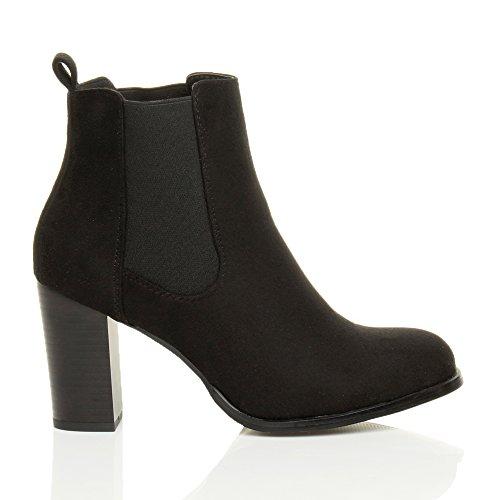 Donna tacco medio alto chelsea elasticizzato stivaletti cavallerizzo stivali alla cavigli taglia Nero scamosciato