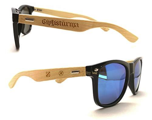 Heimatstolz Sonnenbrille Bambus-Bügel mit Laser-Gravur- Bayern Wappen und urigen Sprüchen - Polarisierte Gläßer mit UV Schutz 400 (Gipfistürma)