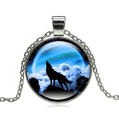 BUYAO Halskette Anhänger Fashion Wolf Moon Pendant Necklace Glass Bullet Silver Statement Chain Necklace Female Jewelry,K