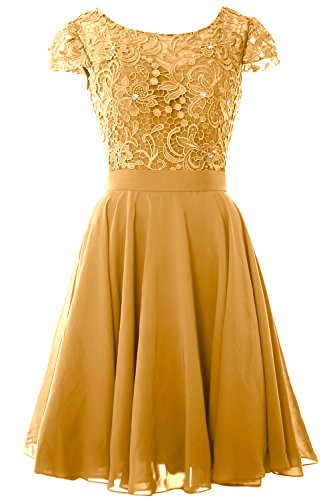 MACloth Women Cap Sleeve Mother of the Bride Dress Lace Short Formal Party Gown gold