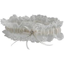 Liga de novia de encaje en color marfil