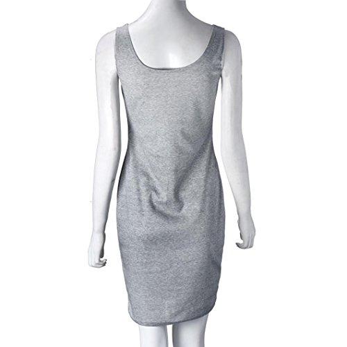 Bekleidung Longra Damen grau Etuikleid Casual ärmellos Sommerkleider Gray