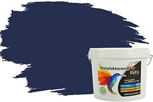 RyFo Colors Bunte Wandfarbe Manufakturweiß Nachtblau 3l - weitere Blau Farbtöne und Größen erhältlich, Deckkraft Klasse 1, Nassabrieb Klasse 1