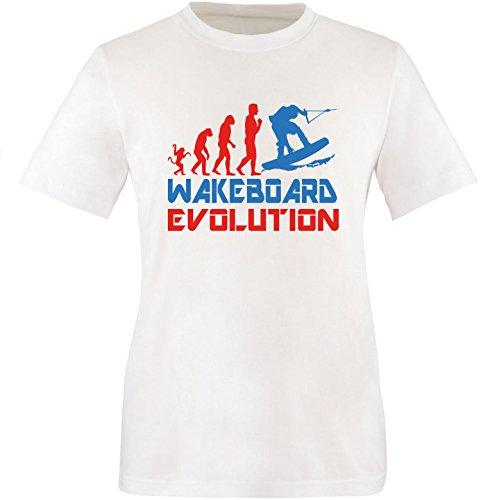 EZYshirt® Wakeboard Evolution Herren Rundhals T-Shirt Weiss/Rot/Blau