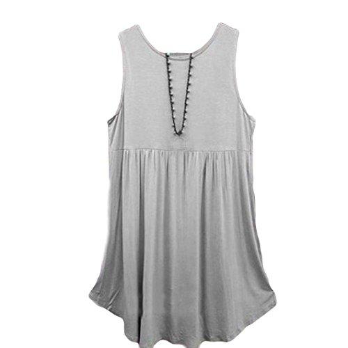 Débardeur Grande Taille Col O Haut Chic Chemise Tops Mini Robe Courte Robe de Plage Été Gilet D'été Sans Manches Coton Blouse (XL, Gris)