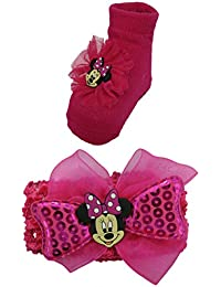 Disney Minnie Mouse Hot Pink Headband and Socks set - 0-6 Months [5014]