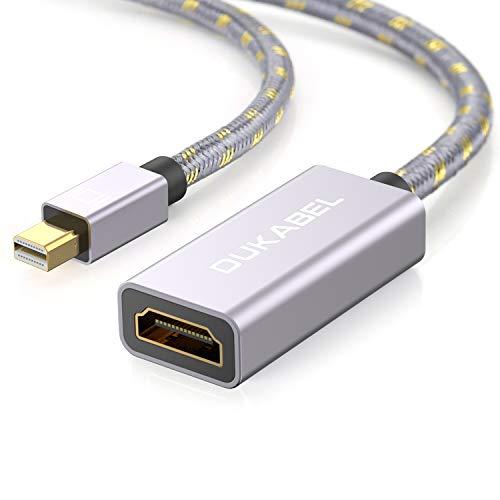 DuKabel Mini DisplayPort zu HDMI Adapter Kabel Mini DP Thunderbolt Stecker auf HDMI Buchse Konverter Full HD 1080p mit Audio für Apple-Produkte, Microsoft Surface Pro, Monitor, Projektor - Grau