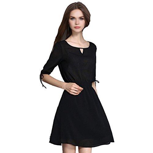 Sommer Damen V-Ausschnitt Kleid Mehrfarbige Multi-Size Black