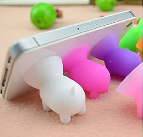 10 Pieces Universal Lovely Cute Silicone Pet Pig Cell Phone Bracket Phone Stand Holder for All iPhone / Samsung / HTC / Xiaomi / Nokia - Random Color