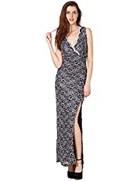 0324f5716 Ladies Ex Lipsy Sexy Slim Fit Navy Sparkle Lace Long Split Maxi Dress Size  16