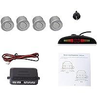 Cocar Coche Auto Vehículo Visual Reserva Radar Sistema con 4 Estacionamiento Sensores + Distancia Info Vídeo Salida + Sonido Advertencia (Plata Color)