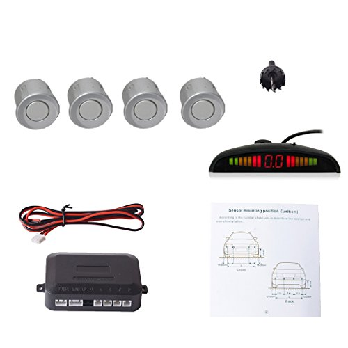 Cocar Argent Voiture Radar de Recul LED Parking Beep & park...