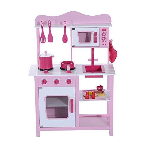 Homcom Cucina Giocattolo per Bambini in Legno Rosa 60 x 30 x 84.5cm