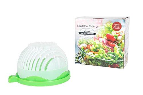 Kitchen Brothers Salatschneider, Salat Schneider, Salat Bowl Cutter, Salat Brettchen, Allesschneider, 100% BPA frei Salat Cutter