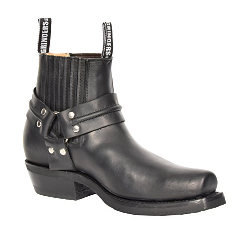 Männer Schwarzes Leder Ankle Biker Stiefel Schlüpfen Sie Ein Quadratische Zehe Cowboy Schleifmaschinen Stiefel - AR70 (41 EU) (Männer Cowboy-stiefel)