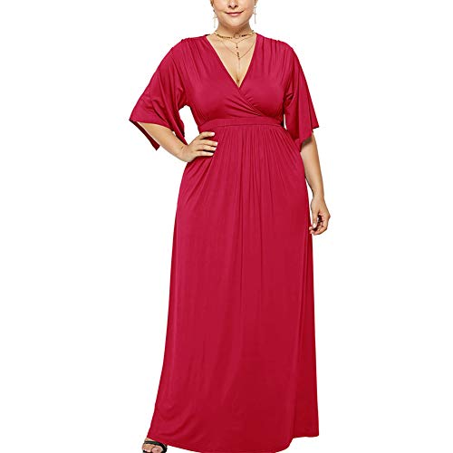 Lover-Beauty Damen Elegant Übergröße Abendkleid Chiffon Ballkleid Brautjungfernkleid lang,Rot,3XL