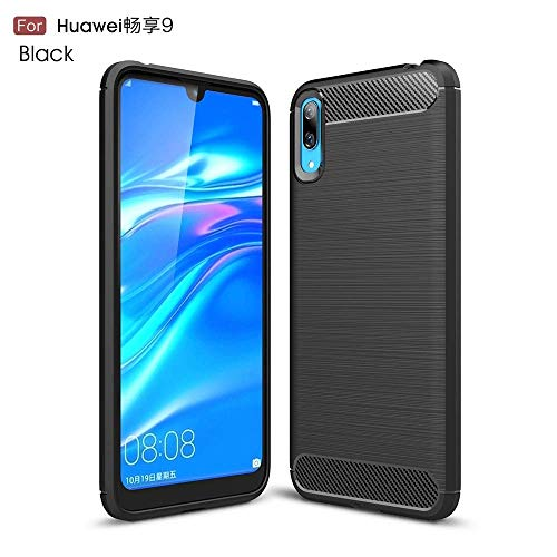 GeWS Hülle für Huawei Enjoy 9E / Huawei Y7 Pro (2019), Carbon Fiber Armor Ultra Light Shockproof Brushed Silicone Grip Case (Farbe : Schwarz) -