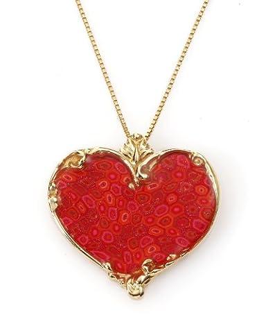 Collier Coeur d'Or Corail - Bijoux Romantique - Pendentif de