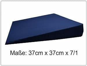 Orthopädisches Keilkissen Kissen Sitzkissen Sitzkeilkissen Sitzkissen Sitzkeil mit 100 % Baumwollbezug! *Top-Qualität zum Top-Preis* (dunkelblau)