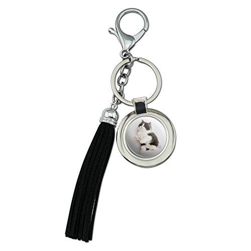 Perserkätzchen Katze vergoldet schwarz weiß chrom Metall rund Leder Quaste Schlüsselanhänger
