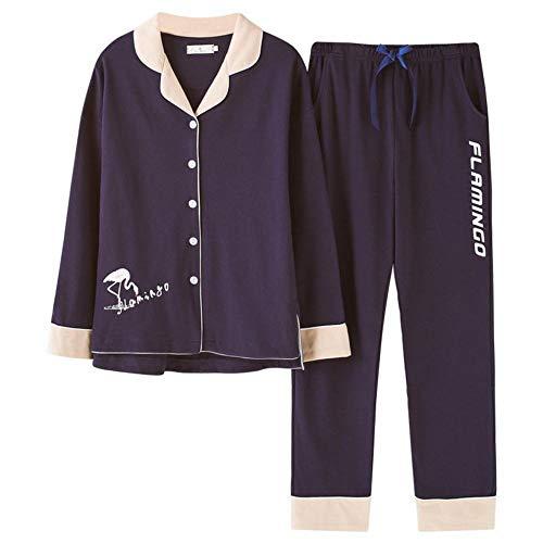 C.n. pigiama donna autunno e inverno in cotone pigiama moda risvolto cardigan pantaloni a maniche lunghe servizio a domicilio,marina militare,m
