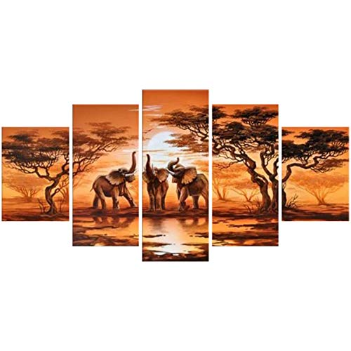 Pintura de Pared Abstracta- 5 PiezasMural sin Marco Conjunto Africano Elefante Jirafa...