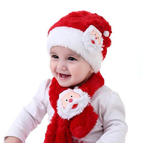 Tinksky Baby Weihnachten Hut und Schal Set Kinder Weihnachtsmann Anzug Warm Plüsch Hut Schal Baby Kleinkind Weihnachten (Anzug Plüsch Santa Kostüme Kind)