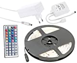 Lunartec LED Leisten zum Kleben: RGB-LED-Streifen LC-500N mit Netzteil & Fernbedienung, 5 m, Innen (LED Farbwechsel Leiste)