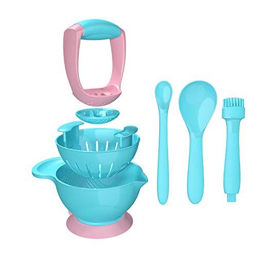 Baby Grinding Bowl Manuelle Anti-Rutsch-Babynahrung Masher Maker Waschbar NahrungsergäNzungsmittel Grinder-Tool-Set FüR Kleinkinder Kleinkinder,Blue -