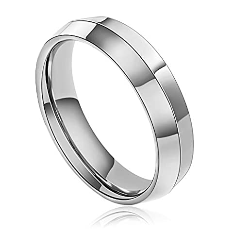 AMDXD Jewelry Stainless Steel Promise Rings for Men Raised Line Silver 7MM,Size P 1/2
