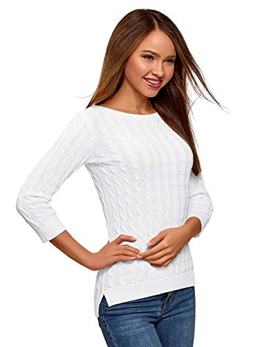 oodji Ultra Damen Pullover mit Zopfmuster und U-Boot-Ausschnitt, Weiß, DE 42 / EU 44 / XL