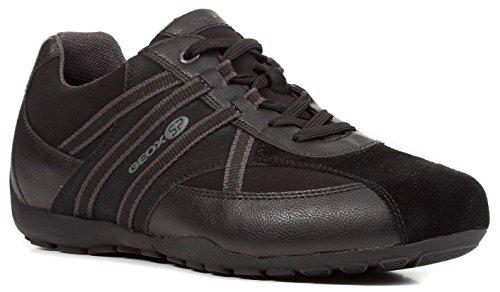 Geox U743FB 05411 Ravex Herren sportiver Schnürschuh Lederimitat GEOX-System, Groesse 45, schwarz