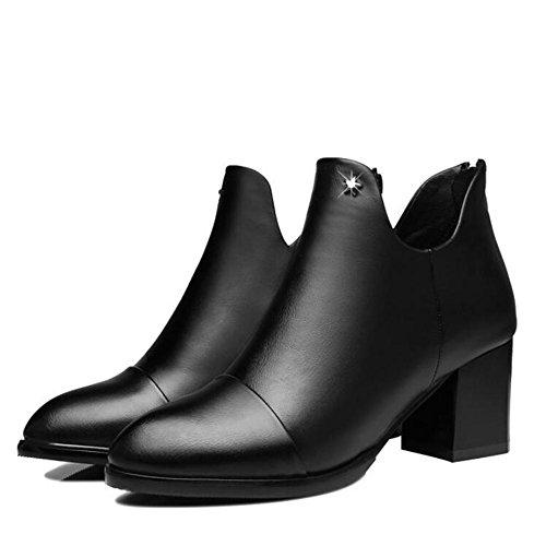 L@YC Frauen High Heel Schuhe Chunky Heels Kurze Stiefel Im Fr¨¹hjahr und Herbst Tipped Martin Stiefel / Schwarz / Rot Black