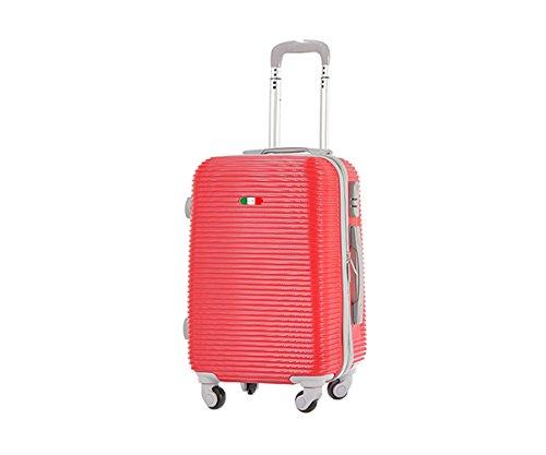 Trolley bagaglio a mano da cabina mis. 55 cm rigido antigraffio e 4 ruote piroettanti adatto per compagnie low-cost / grande rosso
