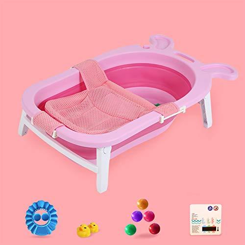 LNDD-Leichte Baby-Faltbadewanne Badezimmernetz Blume Streuen Tragbare Reise Aufbewahrungsmöglichkeit Badethermometer Robust rutschfest,Rosa