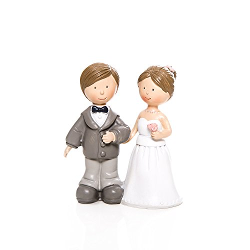 """Niedliches Hochzeitspaar Brautpaar Ehe-Paar Deko-Figur""""Arm in Arm"""" 8 x 4 x 9 cm als Tisch-Dekoration oder kleines Geschenk"""