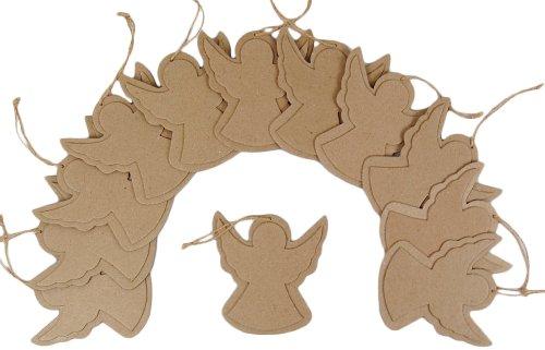 Country Love Crafts Bastelvorlage Engel, zum Aufhängen, flach, Pappmaché, 12Stück (Pappmaché Weihnachten Ornamente)