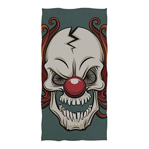WOCNEMP Decke Strand böse beängstigend Clown Monster Mikrofaser Handtuch für Reisen Schwimmen Camping Yoga Sport 37 x 74 Zoll Mat Beach