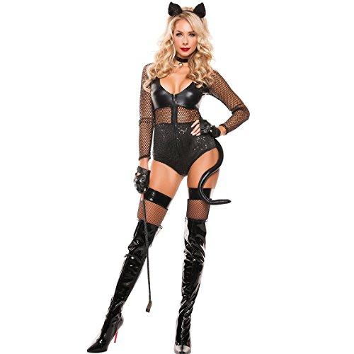 ADFHGFJ Häschen erotische Karneval Erwachsene Leder Cosplay Kostüme Frauen Kaninchen Caster Phantasie Cosplay Set Party sexy Halloween-Kostüm
