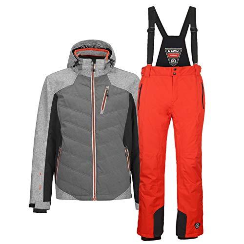 Killtec Herren Skianzug 2 TLG. Skijacke + Skihose Farb- und Größenwahl (grau/orange, S)