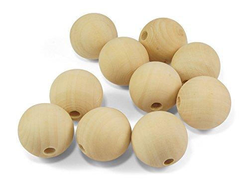 ❤️HobbyHerz 10 Stück Große Holz-Perlen 30mm Rund Natur unbehandelt ♥ Loch ca. 6mm ♥ Zum Fädeln + Basteln (30mm)